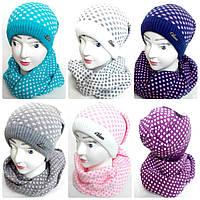 Шапка с шарфом хомутом  для девочек, флис, разные цвета