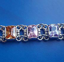 Серебряный женский браслет с разноцветными фианитами, 180мм, фото 3