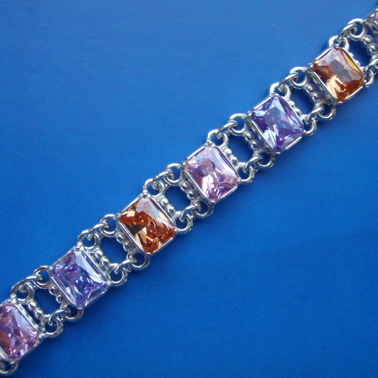 Серебряный женский браслет с разноцветными фианитами, 180мм