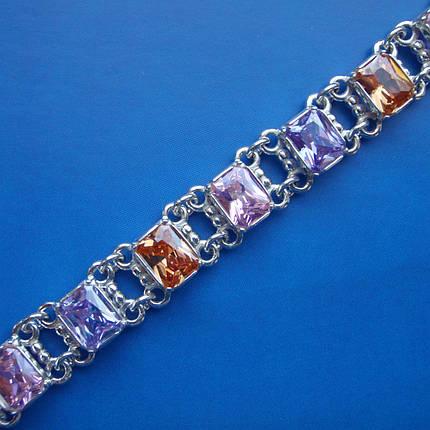 Серебряный женский браслет с разноцветными фианитами, 180мм, фото 2