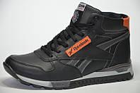 Мужские зимние кожаные ботинки RBK clasic black, фото 1