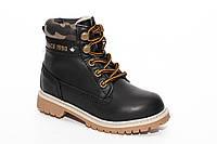 Зимние подростковые ботинки для мальчика на шнуровке черные (31-36)