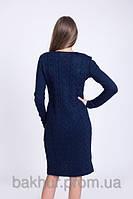 Платье с удлиненной спинкой тёмно-синий - 3045