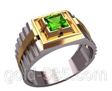 Ступенчатое комбинированное мужское золотое кольцо 585* пробы с камнями