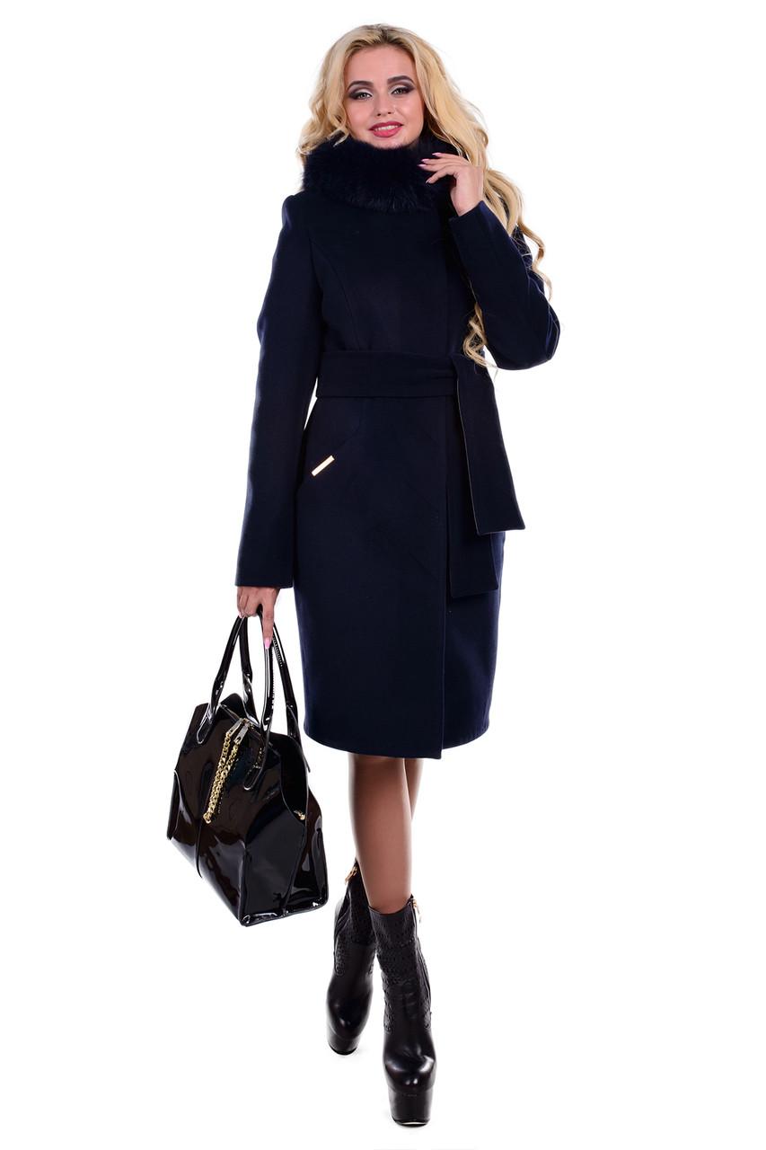 Женское элегантное зимнее пальто арт. Луара лайт зима песец 4083