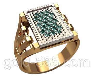 Восхитительная золотая печатка 585* пробы с россыпью камней