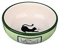 Миска керамическая для кошек Trixie с кошкой и рыбкой 0,35л/12,5см