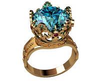 Эксклюзивное мужское золотое кольцо с огромным камнем