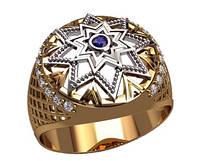 Интересное плоское мужское золотое кольцо 585* пробы