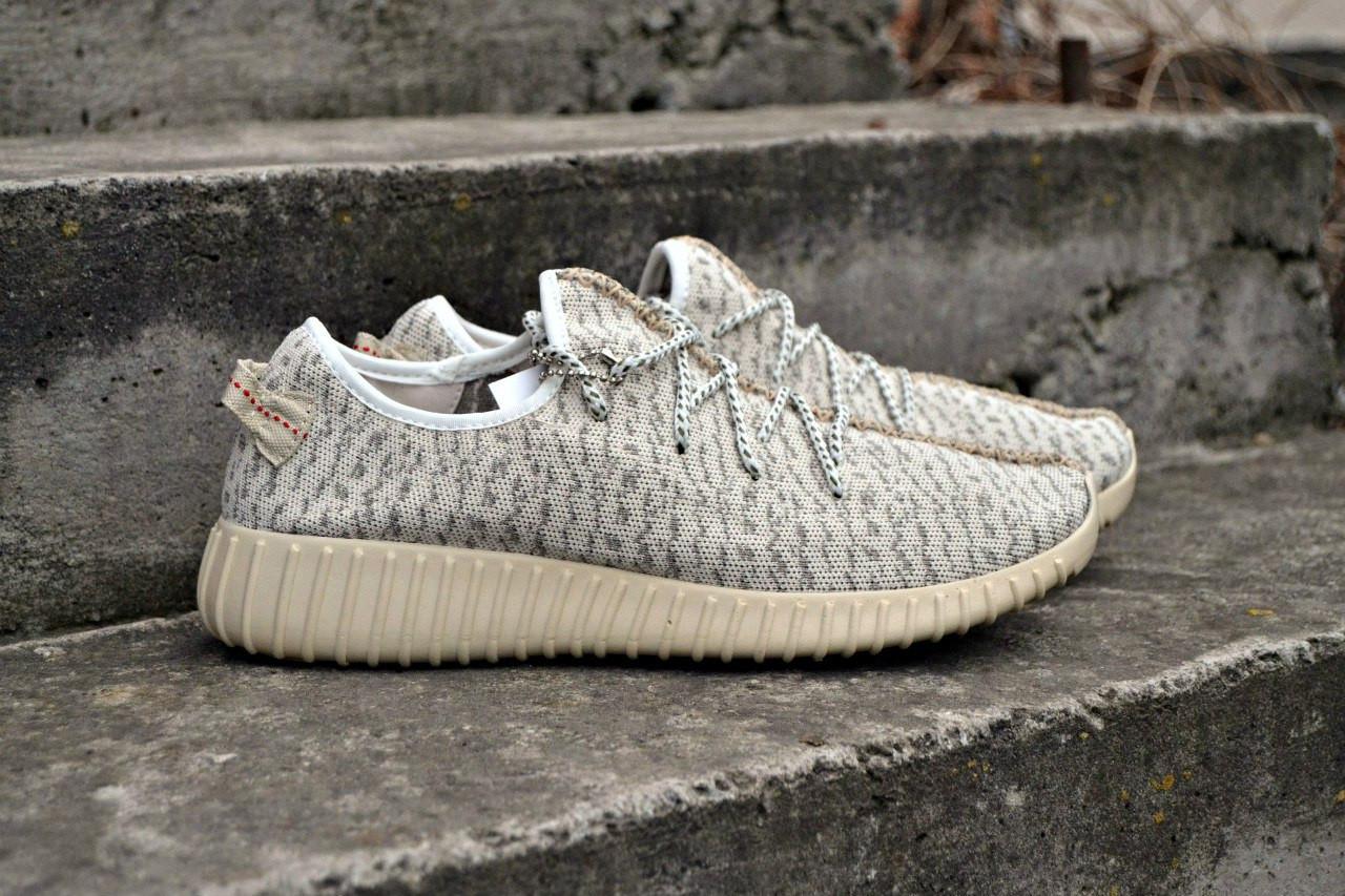 Кроссовки с микрофибры Adidas yeezy boost , серый ,повседневные , женские