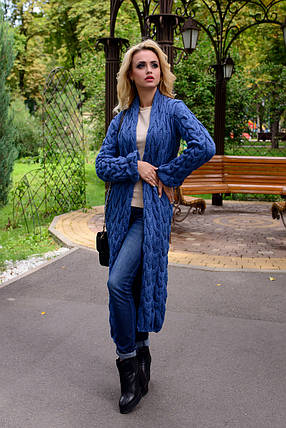 Жіночий синій довгий кардиган (р. SML) арт. Лало - 6068, фото 2