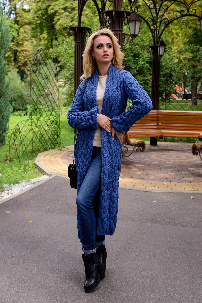 Жіночий синій довгий кардиган (р. SML) арт. Лало - 6068