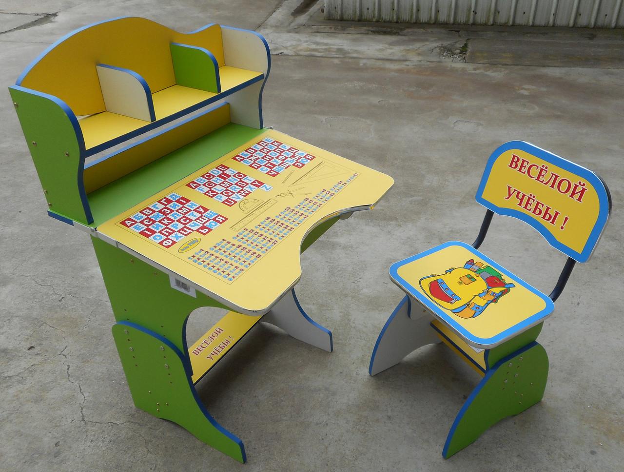 Парта + стул E2878 YELLOW-GREEN Веселой учебы