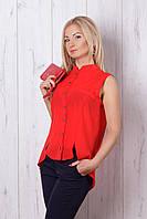 Красная блуза с удлнненной спинкой