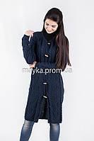 Шикарный вязаный кардиган-пальто темно-синий размер 46