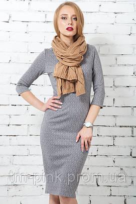 Сукня футляр рукав 3/4 трикотаж ялинка світло-сіра