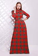 Длинное платье красного цвета в зеленую клетку
