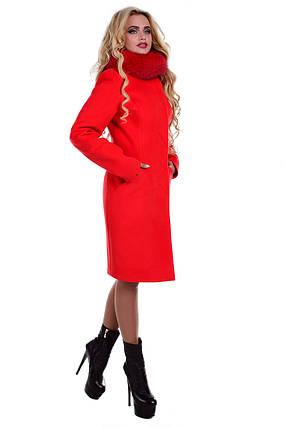 Женское красивое красное зимнее пальто арт. Луара лайт зима песец 6946, фото 2