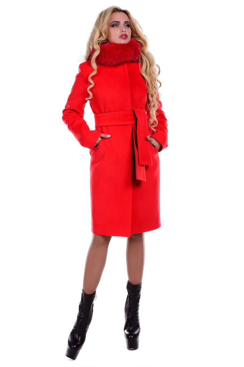Женское красивое красное зимнее пальто арт. Луара лайт зима песец 6946