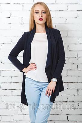 Жіночий кардиган довгий ангора синій