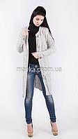 Шикарный вязаный кардиган-пальто светло-серый размер 46