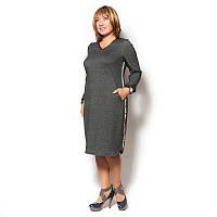 Женское спортивное платье большого размера из стреч трикотажа с длинным рукавом, горловина V образной формы.
