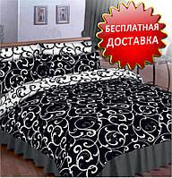 """Полуторный комплект постельного белья """"Чёрное и белое""""."""