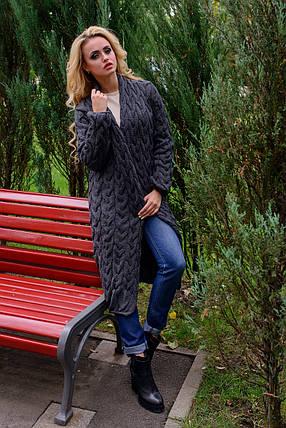 Женский темно-серый вязаный кардиган (р. SML) арт. Лало - 7013, фото 2