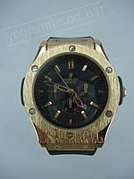 Мужские часы HUBLOT Big Bang Gold Black Ремешок с запахом