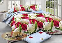 """Полуторный комплект постельного белья """"Тюльпаны""""."""
