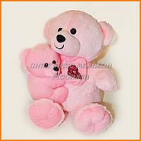 Розовый Мишка с медвежонком 35 см