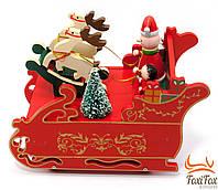Новорічна, музична іграшка Дід Мороз на санях