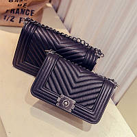 Сумка женская CHANEL Le BOY Chevron Black