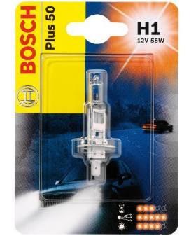 Галогенна лампа H1 12V 55W (світло +50%) блістер, на Renault Trafic 2001-> — Bosch (Німеччина) - 1987301041