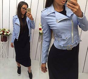 Женская куртка-косуха из эко-кожи, фото 2