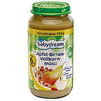 Babydream Bio Apfel-Birnen-Vollkornmüsli - Детское фруктовое пюре Яблоко-груша-мюсли, с 6 месяца, 250 г