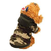 Теплый зимний комбинезон с капюшоном для собак, защитная расцветка