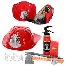 Игровой детский Набор пожарника  9918 B каска, топор, огнетушитель, в сетке Т