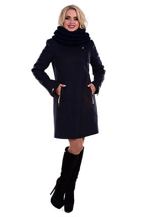 Женское темно-синее зимнее пальто арт. Эльпассо Турция элит зима хомут 4617, фото 2