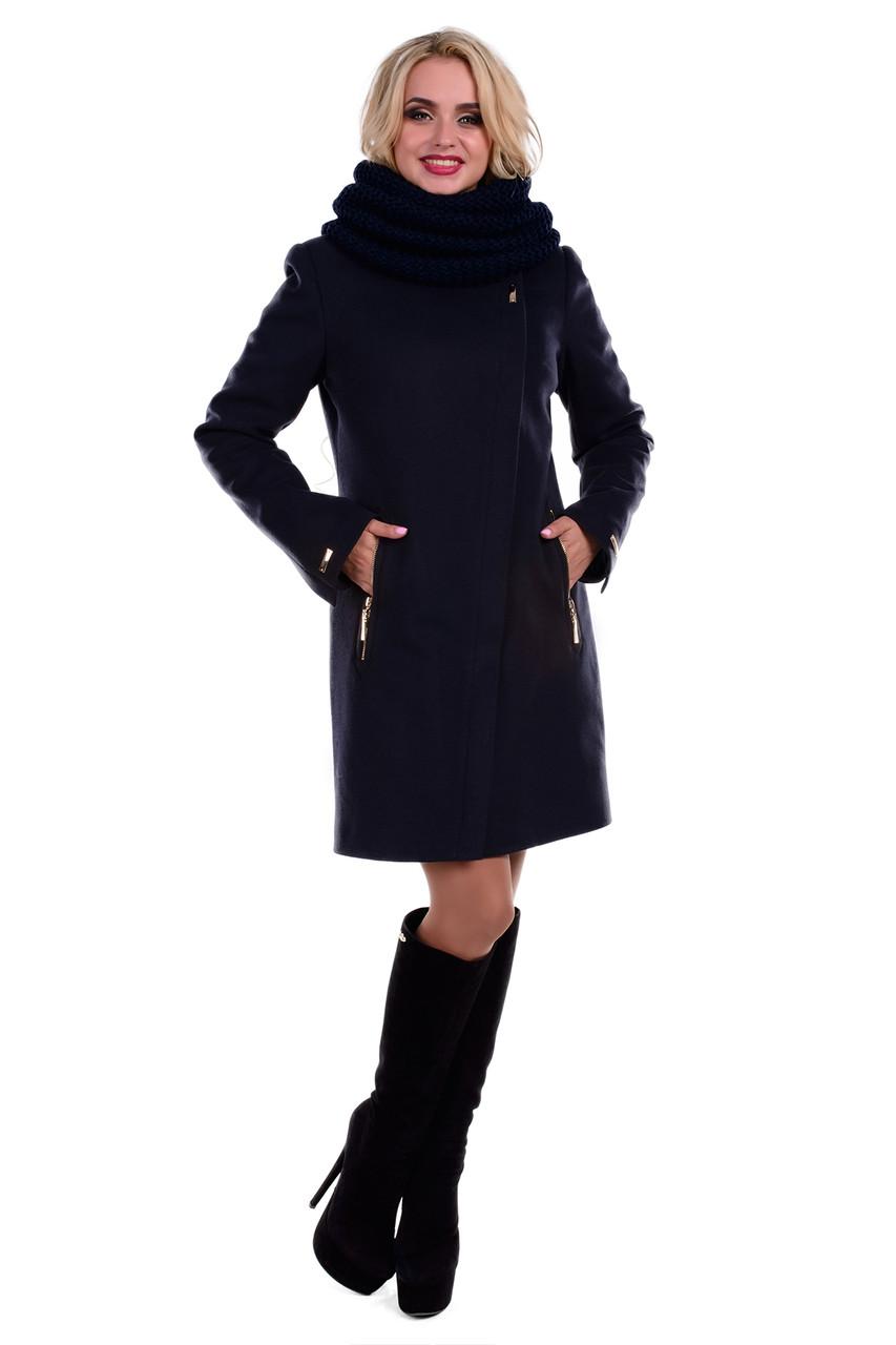 Женское темно-синее зимнее пальто арт. Эльпассо Турция элит зима хомут 4617
