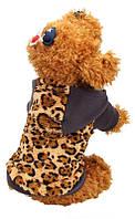 Теплый зимний комбинезон с капюшоном для собак, леопардовая расцветка