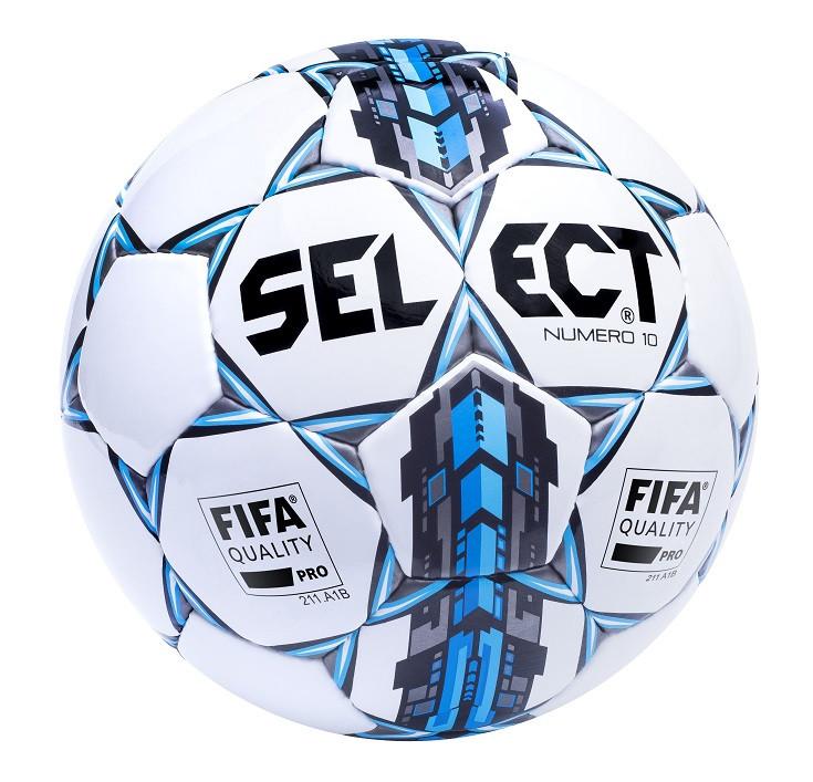 Мяч футбольный Select Numero 10 FIFA, бело-серо-голубой, р. 5, ламинированный