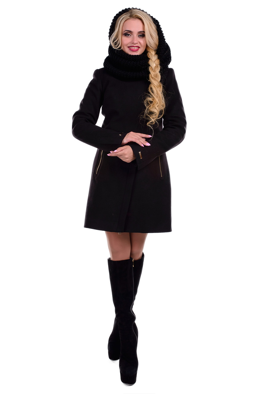 e982bbb8ec7 Черное женское зимнее пальто арт. Эльпассо Турция элит зима хомут 4616 -  Модный мир в