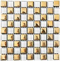 Мозаика шахматка 300х300х6 (код 413) (белый-золото), ячейка 15х15