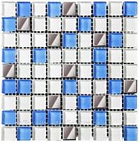 Мозаика микс 300х300х6 (код 466) (белый-голубой-платина), ячейка 15х15