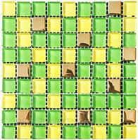 Мозаика микс 300х300х6 (код 457) (зеленый-желтый-золото) ячейка 15х15