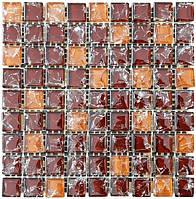 Мозаика микс 300х300х6 (код 451) (коричневый колотый-бежевый колотый), ячейка 15x15