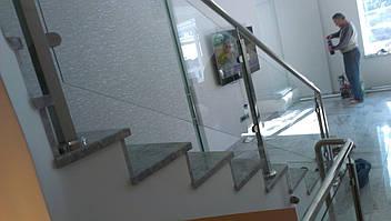 Перила нержавеющие стеклянные, фото 2