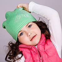 Легкая шапка для девочек с камушками, весна-осень  - Артикул 1717