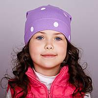 Модная шапка для девочек в розницу, Горошек - весна-осень  - Артикул 1733